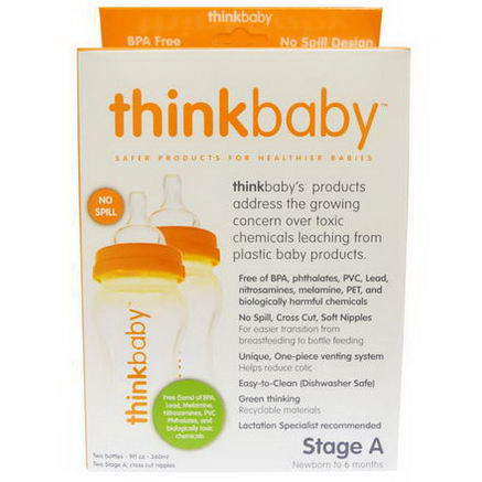 Thinkbaby, Baby Bottle, Twin Pack, Stage A, 9 fl oz (260 ml) Each