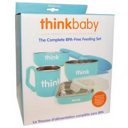Thinkbaby, The Complete BPA-Free Feeding Set, Light Blue, 1 Set