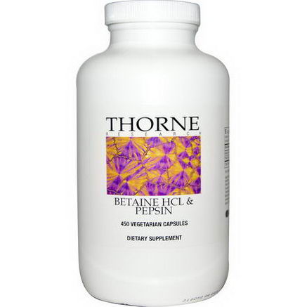 Thorne Research, Betaine HCL & Pepsin, 450 Veggie Caps