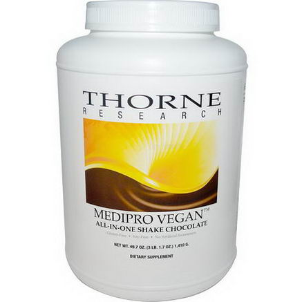 Thorne Research, Medipro Vegan, All-In-One Shake, Chocolate, 49.7oz (1, 410g)
