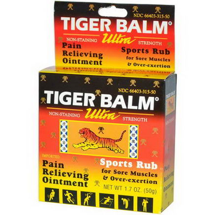 Tiger Balm, Pain Relieving Ointment, Ultra Strength, Non-Staining, 1.7oz (50g)
