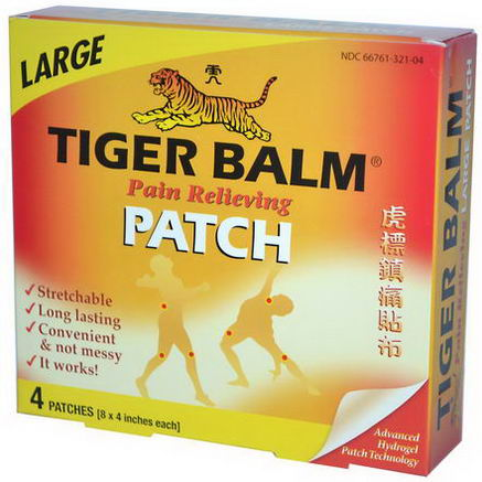 Tiger Balm, Pain Relieving Patch, Large, 4 Patches (8 x 4 in. Each)