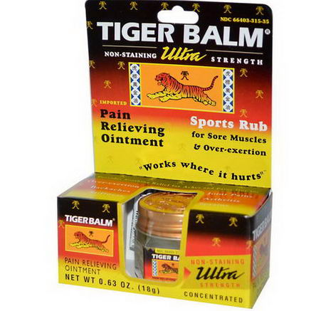 Tiger Balm, Ultra Strength Pain Relieving Ointment, 0.63oz (18g)