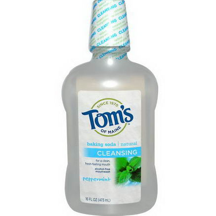 Tom's of Maine, Alcohol-Free Baking Soda Mouthwash, Cleansing, Peppermint, 16 fl oz (473 ml)