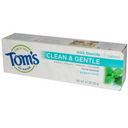 Tom's of Maine, Clean & Gentle, Fluoride Toothpaste, Peppermint, 4.7oz (133g)