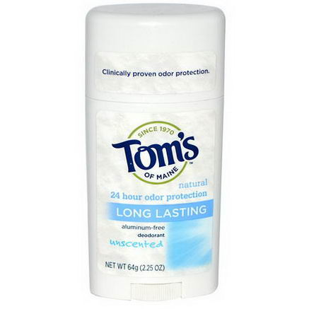Tom's of Maine, Natural Long-Lasting Deodorant Stick, Aluminum-Free, Unscented, 64g (2.25oz)