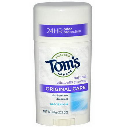 Tom's of Maine, Original Care Deodorant, Unscented, 2.25oz (64g)