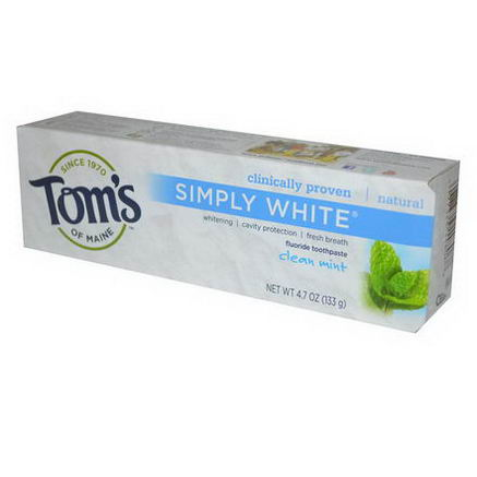 Tom's of Maine, Simply White Fluoride Toothpaste, Clean Mint, 4.7oz (133g)