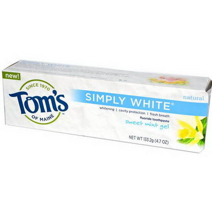 Tom's of Maine, Simply White, Fluoride Toothpaste, Sweet Mint Gel, 4.7oz (133.2g)