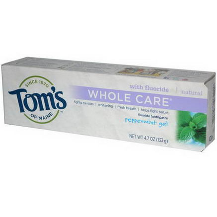 Tom's of Maine, Whole Care Flouride Toothpaste, Peppermint Gel, 4.7oz (133g)
