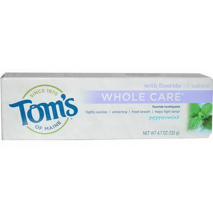 Tom's of Maine, Whole Care Fluoride Toothpaste, Peppermint, 4.7oz (133g)