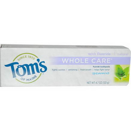 Tom's of Maine, Whole Care Fluoride Toothpaste, Spearmint, 4.7oz (133g)