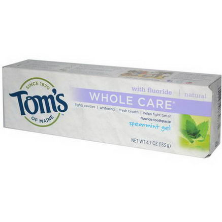 Tom's of Maine, Whole Care Fluoride Toothpaste, Spearmint Gel, 4.7oz (133g)