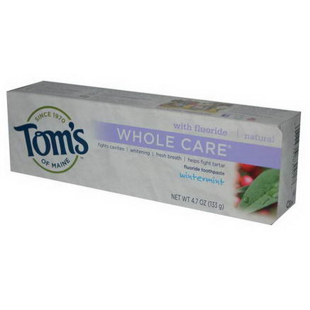 Tom's of Maine, Whole Care, Fluoride Toothpaste, Wintermint, 4.7oz (133g)