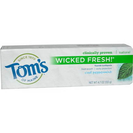 Tom's of Maine, Wicked Fresh! Fluoride Toothpaste, Cool Peppermint, 4.7oz (133g)