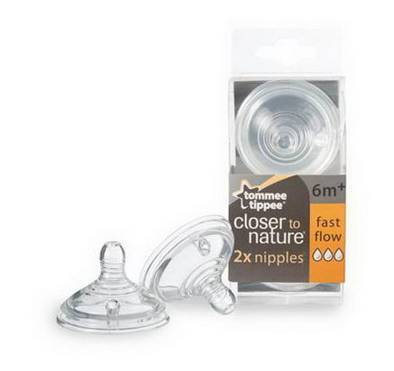 Tommee Tippee, Closer to Nature, Nipples, Fast Flow, 2 Nipples