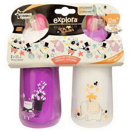 Tommee Tippee, Explora, Special Edition, Insulated Spill Proof Circus Straw Cups, 2 Cups, 9 fl oz (266 ml) Each