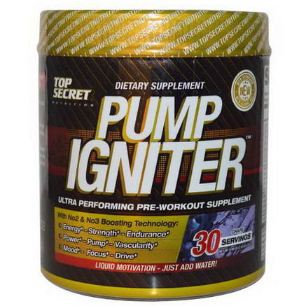 Top Secret Nutrition, LLC, Pump Igniter, Ultra Performing Pre-Workout Supplement, Grape, 7.93oz (225g)