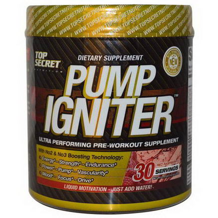 Top Secret Nutrition, LLC, Pump Igniter, Ultra Performing Pre-Workout Supplement, Red Raspberry, 7.93oz (225g)