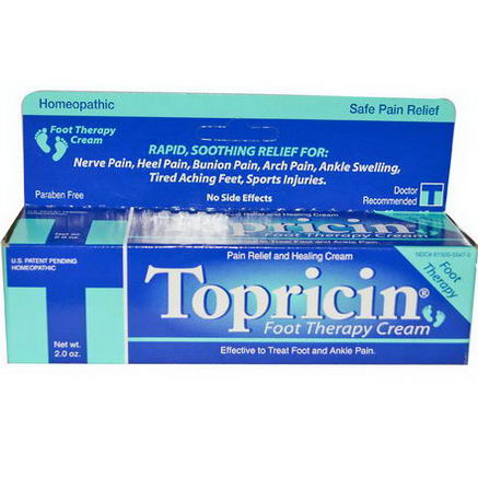 Topricin, Foot Therapy Cream, Pain Relief and Healing Cream, 2oz