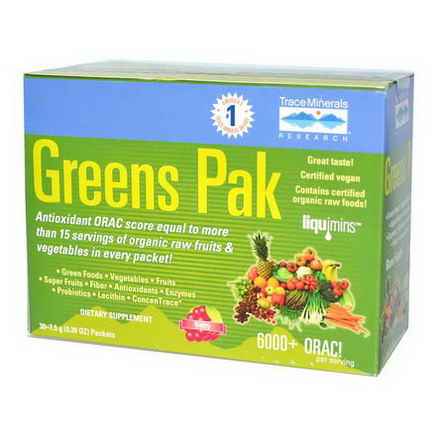 Trace Minerals Research, Greens Pak, Berry, 30 Packets, 0.26oz (7.5g) Each