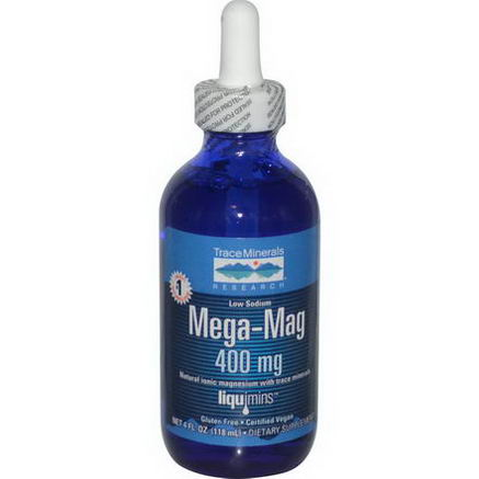 Trace Minerals Research, Mega-Mag, Natural Ionic Magnesium with Trace Minerals, 400mg, 4 fl oz (118 ml)