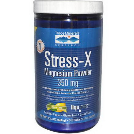 Trace Minerals Research, Stress-X, Magnesium Powder, Lemon Lime, 350mg, 23.3oz (660g)