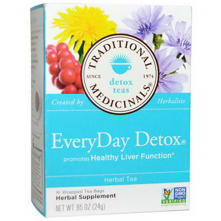 Traditional Medicinals, Detox Teas, EveryDay Detox, Herbal Tea, 16 Wrapped Tea Bags, 85oz (24g)