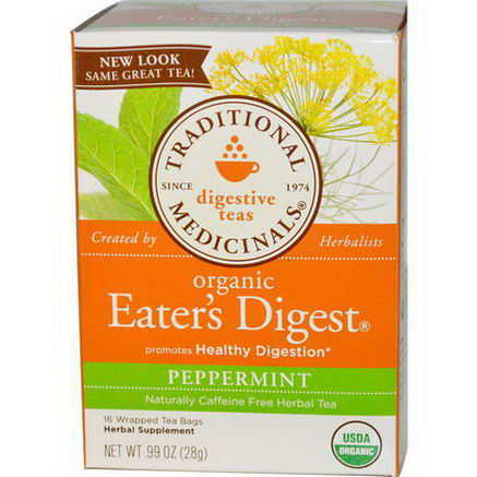 Traditional Medicinals, Digestive Teas, Organic Eater's Digest, Peppermint, Caffeine Free, 16 Wrapped Tea Bags, 99oz (28g)