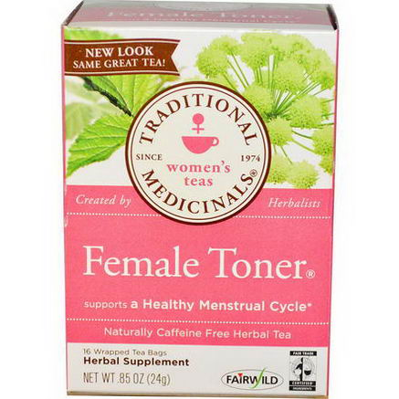 Traditional Medicinals, Herbal Tea, Healthy Cycle, Caffeine Free, 16 Wrapped Tea Bags, 85oz (24g)