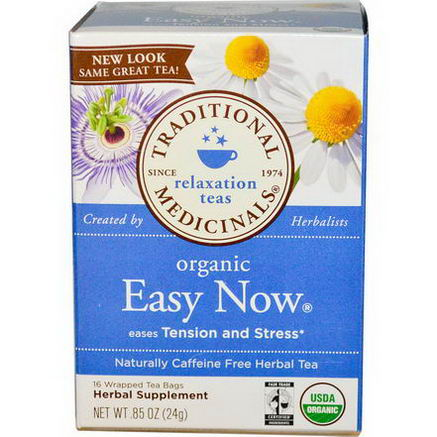 Traditional Medicinals, Herbal Tea, Organic Easy Now, Caffeine Free, 16 Wrapped Tea Bags, 0.85oz (24g)
