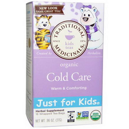 Traditional Medicinals, Just for Kids, Organic Cold Care, Herbal Tea, Caffeine Free, 18 Tea Bags, 96oz (27g)
