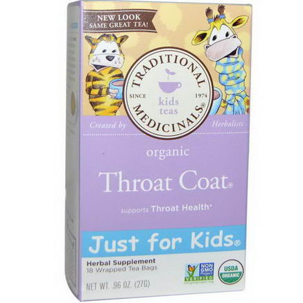 Traditional Medicinals, Just for Kids, Organic Throat Coat, Naturally Caffeine Free Herbal Tea, 18 Wrapped Tea Bags, 96oz (27g)