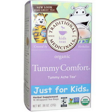 Traditional Medicinals, Just for Kids, Organic Tummy Comfort, Naturally Caffeine Free Herbal Tea, 18 Wrapped Tea Bags, 96oz (27g)