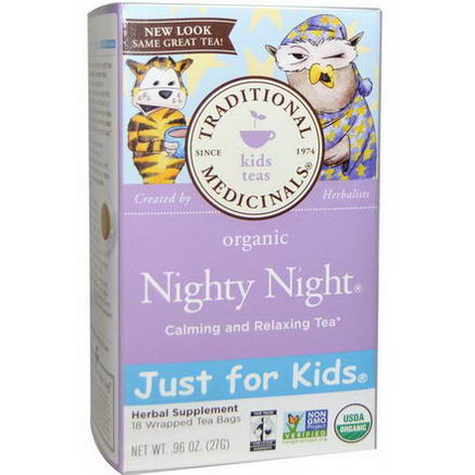 Traditional Medicinals, Organic, Just for Kids, Nighty Night Calming and Relaxing Tea, 18 Wrapped Tea Bags, 96oz (27g)