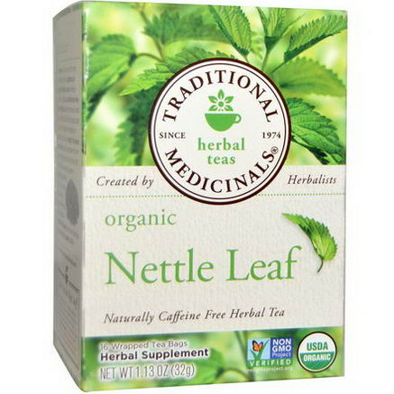 Traditional Medicinals, Organic Nettle Leaf Herbal Tea, Caffeine Free, 16 Wrapped Tea Bags, 1.13oz (32g)