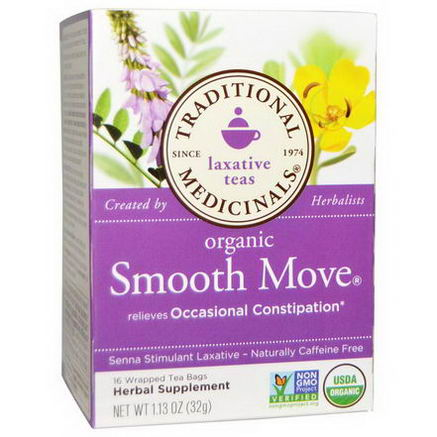 Traditional Medicinals, Organic Smooth Move, Senna Stimulant Laxative, Caffeine Free, 16 Wrapped Tea Bags, 1.13oz (32g)