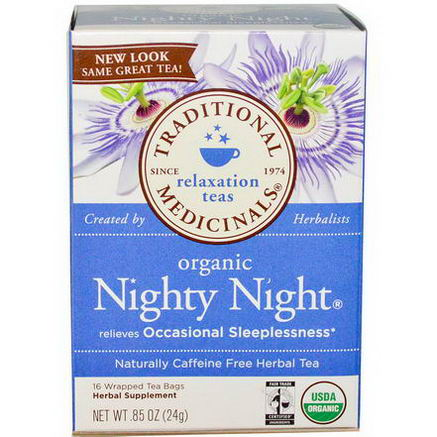 Traditional Medicinals, Relaxation Teas, Organic Nighty Night, Caffeine Free, 16 Wrapped Tea Bags, 85oz (24g)