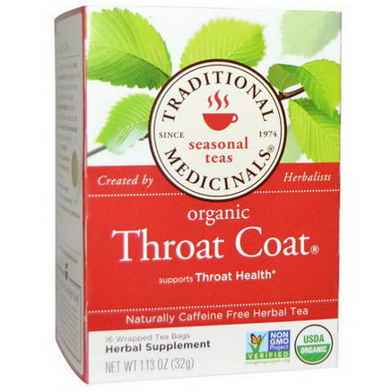 Traditional Medicinals, Seasonal Teas, Organic Throat Coat, Caffeine Free, 16 Wrapped Tea Bags, 1.13oz (32g)