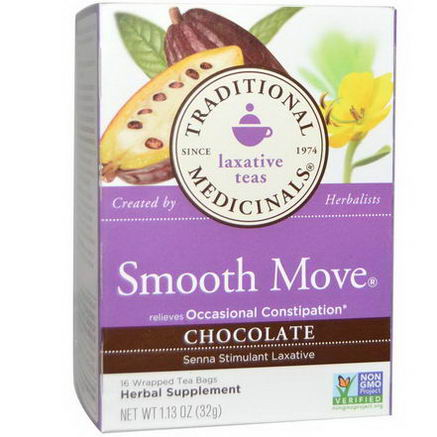 Traditional Medicinals, Smooth Move, Chocolate, 16 Wrapped Tea Bags, 1.13oz (32g)
