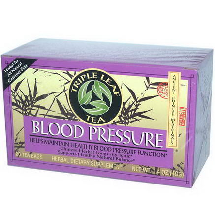 Triple Leaf Tea, Blood Pressure, Caffeine-Free, 20 Tea Bags, 1.4oz (40g)