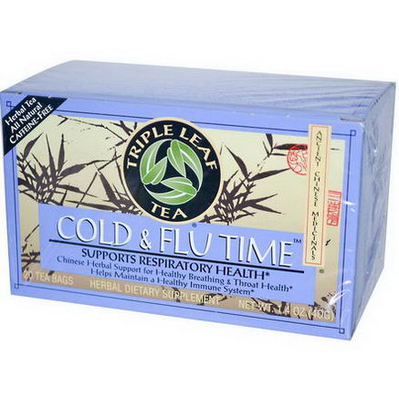 Triple Leaf Tea, Cold & Flu Time, 20 Tea Bags, 1.4oz (40g)