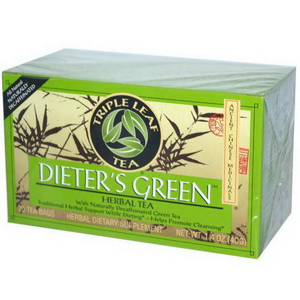 Triple Leaf Tea, Dieter's Green, Herbal Tea, Decaf, 20 Tea Bags, 1.4oz (40g)