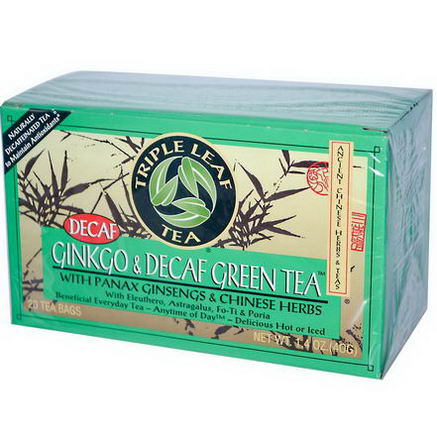 Triple Leaf Tea, Ginkgo & Decaf Green Tea, 20 Tea Bags, 1.4oz (40g)