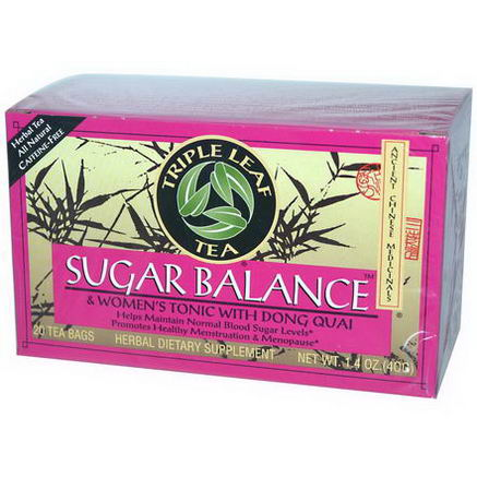 Triple Leaf Tea, Sugar Balance, Caffeine-Free, 20 Tea Bags, 1.4oz (40g)