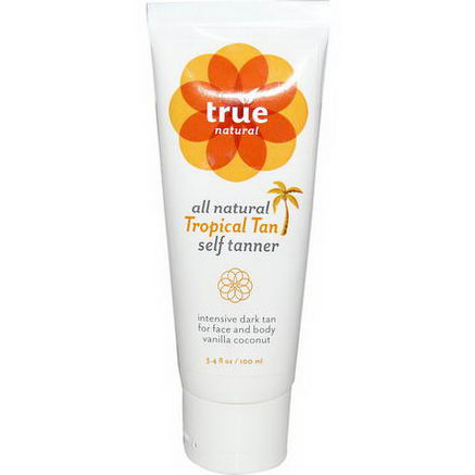 True Natural, All Natural Tropical Tan Self Tanner, 3.4 fl oz (100 ml)