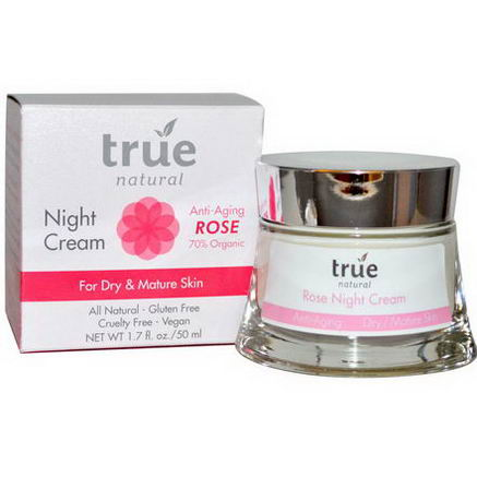 True Natural, Night Cream, Anti-Aging Rose, 1.7 fl oz (50 ml)