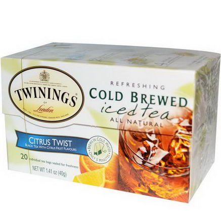 Twinings, Cold Brewed Iced Tea, Citrus Twist, 20 Tea Bags, 1.41oz (40g)