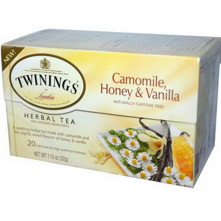 Twinings, Herbal Tea, Camomile, Honey & Vanilla, Naturally Caffeine Free, 20 Individual Tea Bags, 1.13oz (32g)