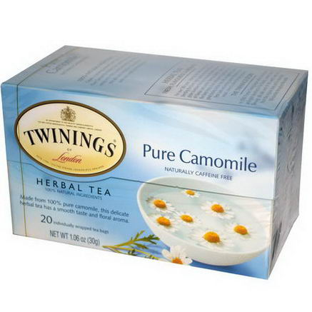 Twinings, Herbal Tea, Pure Camomile, Caffeine Free, 20 Tea Bags, 1.06oz (30g)